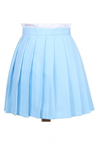 Popular Plain Mini A-line Pleated Skirt Uniform