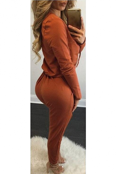 ec9d3f27c704 ... Women's Sexy Lace Up Drawstring One Piece Jumpsuit Rompers ...