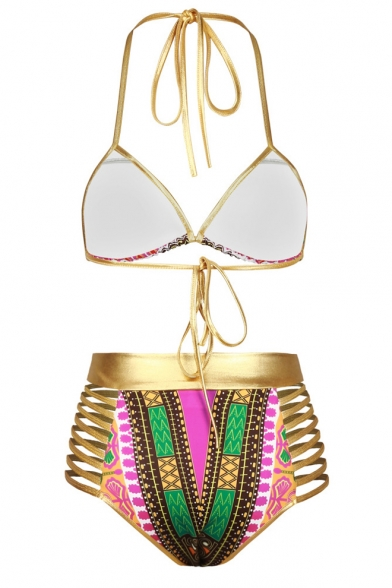 Women's Sexy Tie Back Halter Tribal Print Triangle Bikini Set