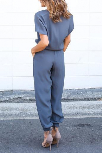 Women Casual Short Sleeve Drawstring Rompers Jumpsuits