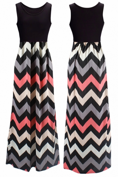 Women's Boho Empire Chevron Tank Top Casual Maxi Long Dress
