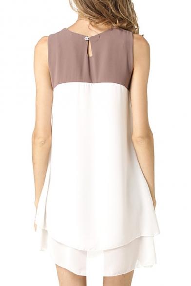 Women's Chic Sleeveless Round Neck Color Block Chiffon Dress