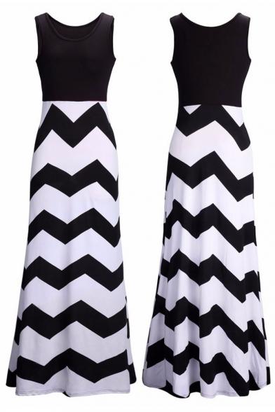 Top Boho Chevron Long Women's Casual Dress Empire Maxi Tank Hxd7w