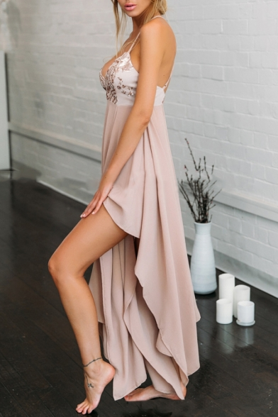 Party Print Neck Sequined Plunge Crisscross Hem Maxi Women's Dress Asymmetrical Back cW4zRWHq
