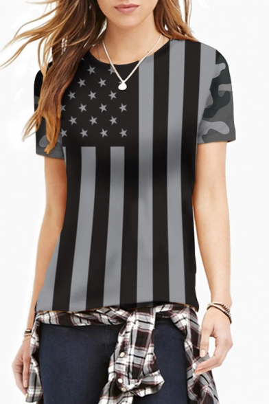 Women's Fashion Flag Print Round Neck Short Sleeve Basic T-Shirt
