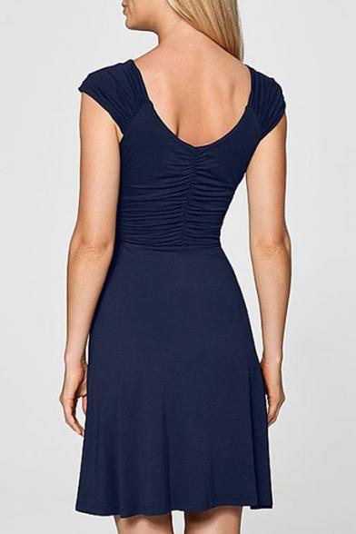 Women's Fashion V-Neck Plain Wrap Front  Midi Dress