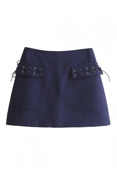 Trendy Perforated Tied Pockets Zip-Back Plain A-Line Skirt ...