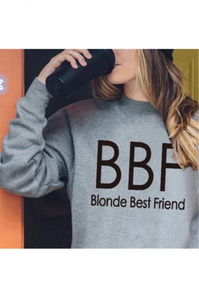 Women's BBF Blonde/Brunette Best Friend Letter Printed Pullover Sweatshirt