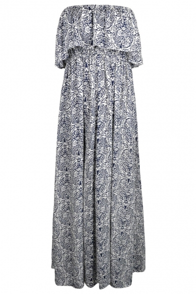 Women Summer Blue and White Porcelain Strapless Boho Maxi Long Dress