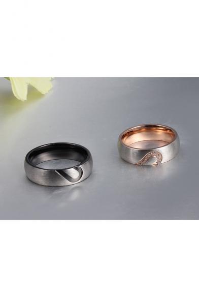 Couple Half Heart Cutout Pattern titanium Steel Ring