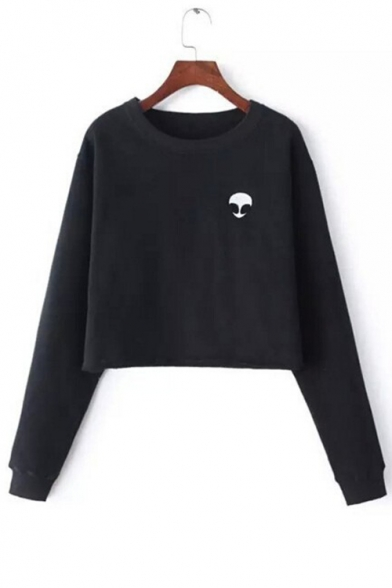 Pullover Printed Sleeve Alien Neck Long Fashion Round Crop Sweatshirt xgWvAnRqf