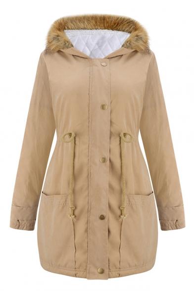 New Fashion Fur Hooded Zipper Single Breasted Drawstring