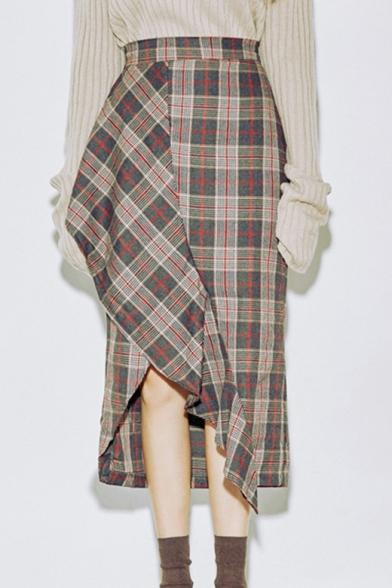 aaeb7f77b Women's Fashion Retro Plaid Print Side Slit Asymmetrical Hem Midi Skirt