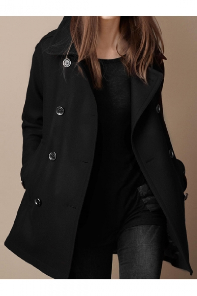 with Lapel Fashion Breasted Pockets Collar Coat Woolen Women's Double wfqz1qcU
