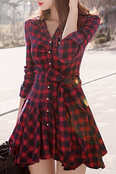 Fashion Lapel Single Breasted Plaid Color Block Long Sleeve Swing Hem Shirt Dress