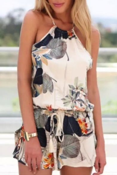 Sexy Halter Sleeveless Crisscross Drawstring Waist Floral Printed Rompers