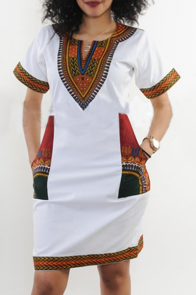 Women's African Vintage Floral Dashiki Tribal Short Dress