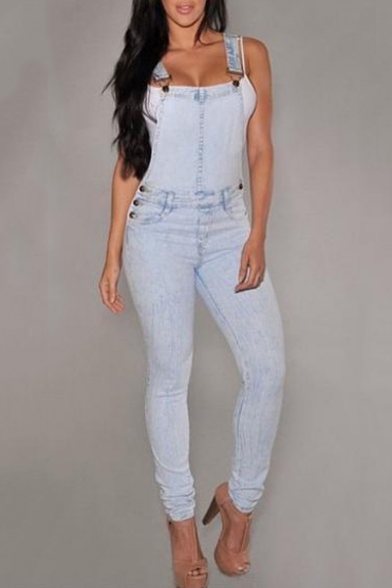 Women's Crisscross Back Straps Long Pants Denim Overalls