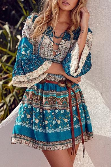 ceba431111 Clothing > · Dresses. Women's Fashion Lace-Up Front V-Neck Flare Sleeve  Boho Style Tribal Print Mini ...