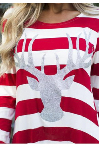 Women's Long Sleeve Reindeer Crewneck Jersey Tunic