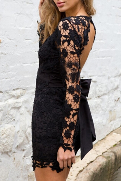Sexy Open Back Plunge V-Neck Tied Waist Lace Mini Bodycon Dress