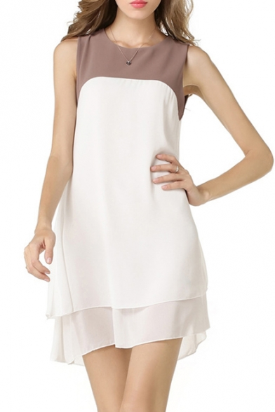Women's Chic Sleeveless Round Neck Color Block Chiffon Dress