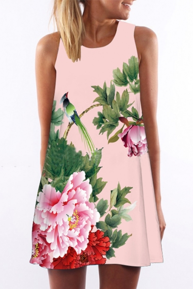 Women's Floral Print Sleevess Round Neck Mini Swing Dress