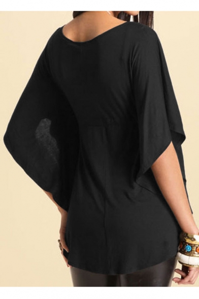 Women Sexy Loose V-neck Batwing Sleeve Tunic Short Sleeve Tops Blouse