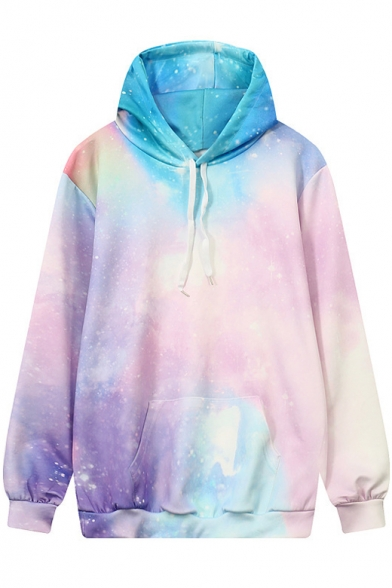 Drawstring Hooded Pink Galaxy 3D Printed Color Block Hoodie Sweatshirt with One Pocket
