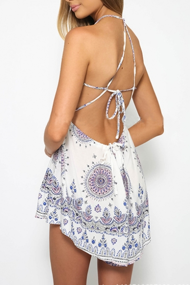Fashion Tied Back Halter Sleeveless Boho Printed Rompers