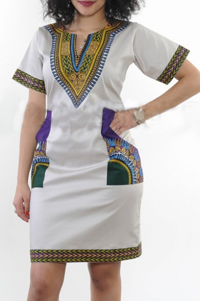 Women's African Vintage Floral Dashiki Tribal Short Dress
