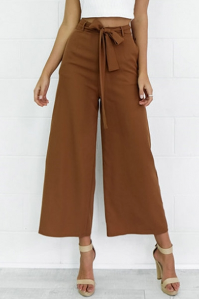 Women's Fashion Elegant Loose Belted Wide Leg Palazzo Capri Pants Cropped Pants