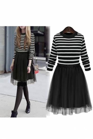 Women's Fashion Fake Two-Piece Round Neck Long Sleeve Striped Print Tulle A-Line Dress