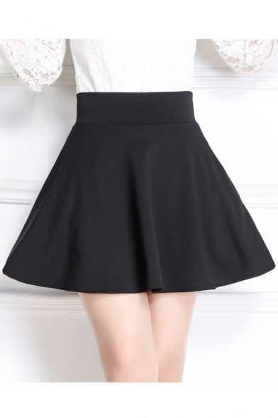 Women's High Waist Mini A-Line Plain Skater Skirt