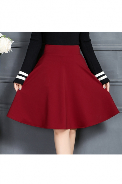 Women's Plain High Waist Midi A-Line Skater Skirt