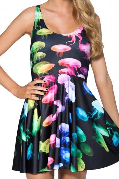 Colorful Jellyfish Print Tank Skater Dress