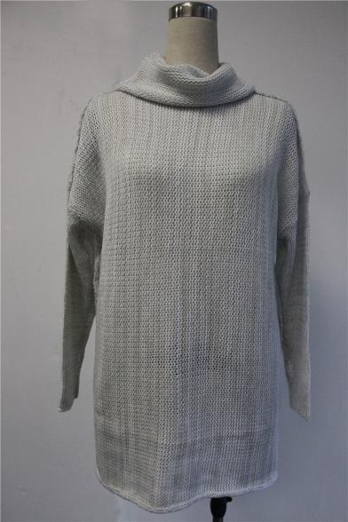 Fashion Tunic Sweater Plain Long High Neck Women's Sleeve Oversized TqTSr