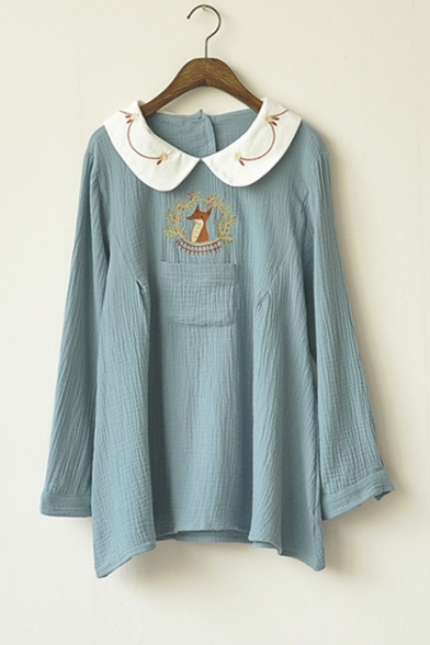 Women S Peter Pan Collar Long Sleeve Fox Embroidery Loose Blouse