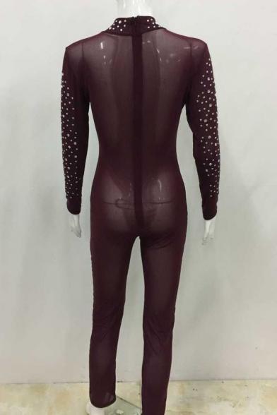 Women's Sexy Mesh See Through Rhinestone Bodycon Clubwear Jumpsuit Romper