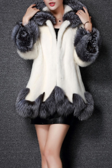 New Stylish Hooded Contrast Trim Faux Fur Tunic Coat