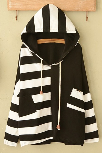 New Stylish Hooded Striped Color Block Hoodie Sweatshirt with Pockets