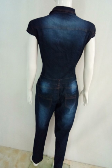 Women's Juniors Cap-Sleeve Denim Jumpsuit with Button-Down Front