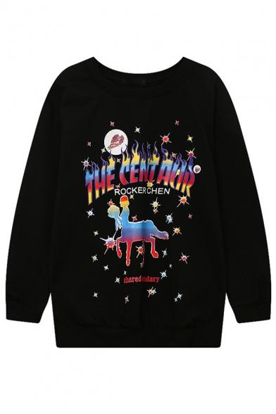 Women's Round Neck Long Sleeve Oversize Cartoon Print Casual Sweatshirt