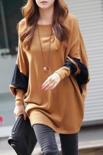 Women Scoop Neck Color Block Batwing Loose Tunic Top