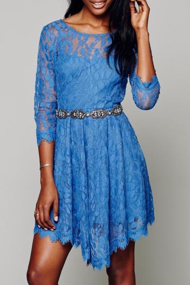 Elegant Lace Floral Pattern Half Sleeve Mini Asymmetric Dress