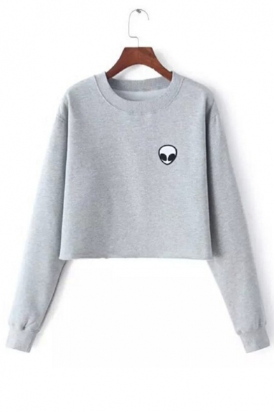 Neck Sleeve Pullover Long Sweatshirt Round Printed Alien Crop Fashion fwOa77