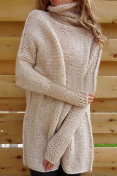 Fashion Women's Oversized Plain High Neck Long Sleeve Tunic Sweater