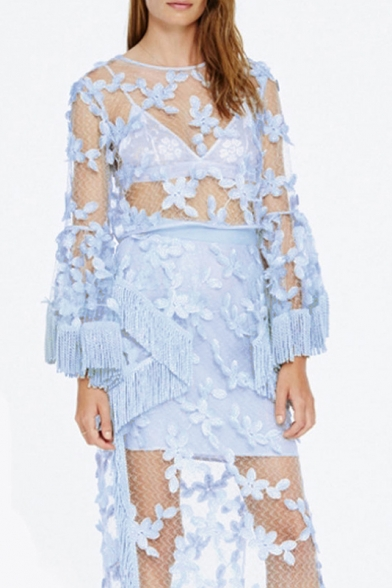 Sexy Meshed Sheer Tassel Cuffs Bell Long Sleeve Lace Blouse Top