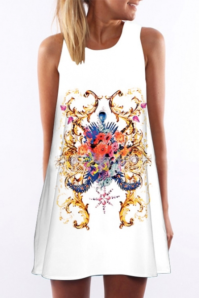 Women's Round Neck Sleeveless Digital Print Tank Mini Dress