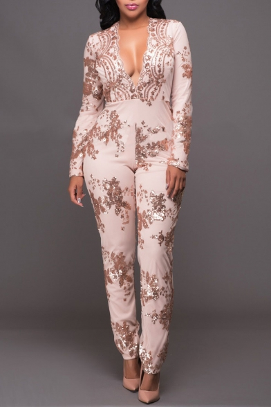 Women's Sexy Long Sleeve Sequins Cocktail Jumpsuit Romper
